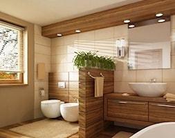 Duża beżowa szara łazienka - zdjęcie od Joanna Ciastek