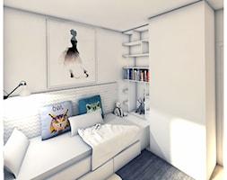 POKÓJ DLA DZIECKA_DZIEWCZYNKI 8 LAT - Mały szary pokój dziecka dla chłopca dla dziewczynki dla nastolatka, styl eklektyczny - zdjęcie od PUFF