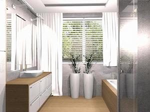 DOM CZECHOWICE-DZIEDZICE - Średnia szara łazienka na poddaszu w bloku w domu jednorodzinnym z oknem, styl nowoczesny - zdjęcie od EJOT DESIGN Edyta Jonkisz