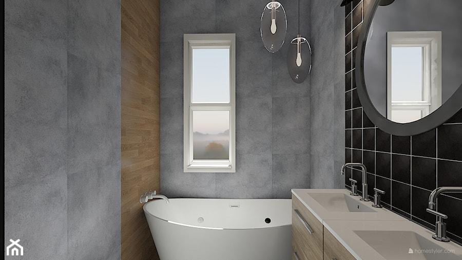 Projekt aranżacji domu mieszkalnego. - Średnia czarna szara łazienka z oknem, styl nowoczesny - zdjęcie od MOMA HOME