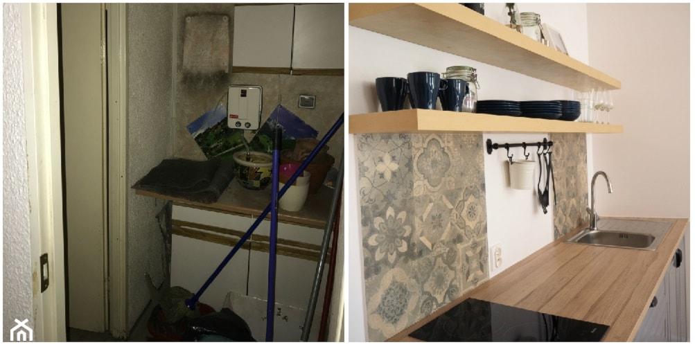 Metamorfoza w kamienicy - generalny remont. - Mała zamknięta szara kuchnia jednorzędowa - zdjęcie od MOMA HOME - Homebook