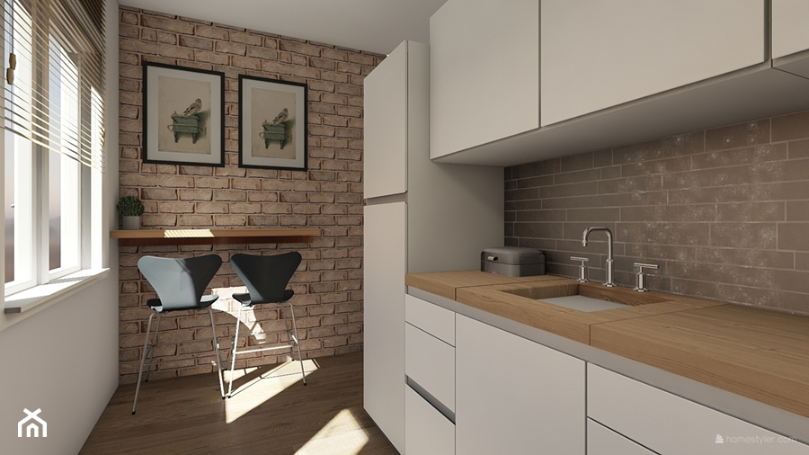 Projekt aranżacji domu mieszkalnego. - Średnia zamknięta biała kuchnia jednorzędowa z oknem, styl nowoczesny - zdjęcie od MOMA HOME