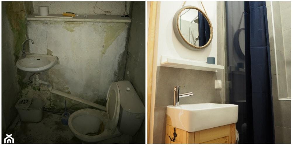 Metamorfoza w kamienicy - generalny remont. - Mała biała łazienka w bloku w domu jednorodzinnym bez okna - zdjęcie od MOMA HOME - Homebook