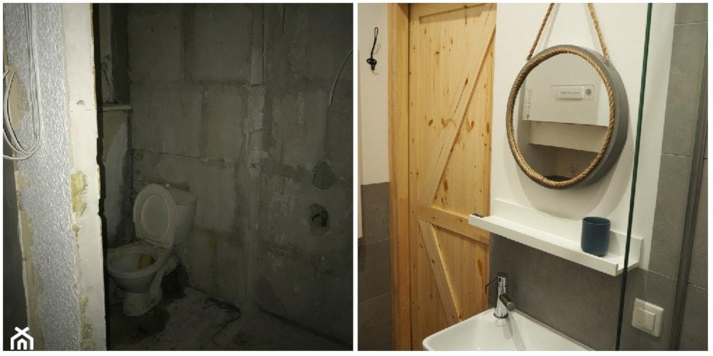 Metamorfoza w kamienicy - generalny remont. - Biała szara łazienka - zdjęcie od MOMA HOME - Homebook