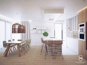 Mieszkanie Gliwice - Średnia otwarta szara kuchnia dwurzędowa w aneksie z wyspą z oknem, styl skandynawski - zdjęcie od ANNA ORLIKOWSKA ARCHITEKTURA WNĘTRZ