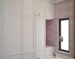 Dom Żory - Średni biały fioletowy hol / przedpokój, styl nowoczesny - zdjęcie od ANNA ORLIKOWSKA ARCHITEKTURA WNĘTRZ
