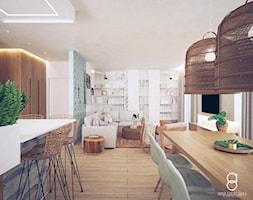 Mieszkanie Gliwice - Średni biały zielony salon z bibiloteczką z kuchnią z jadalnią, styl skandynaw ... - zdjęcie od ANNA ORLIKOWSKA ARCHITEKTURA WNĘTRZ - Homebook