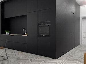 i|03 - Mała biała czarna kuchnia jednorzędowa w aneksie, styl industrialny - zdjęcie od no.bo
