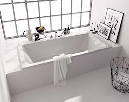Koło MODO - Mała biała łazienka na poddaszu w bloku w domu jednorodzinnym z oknem, styl minimalisty ... - zdjęcie od KOŁO - Homebook