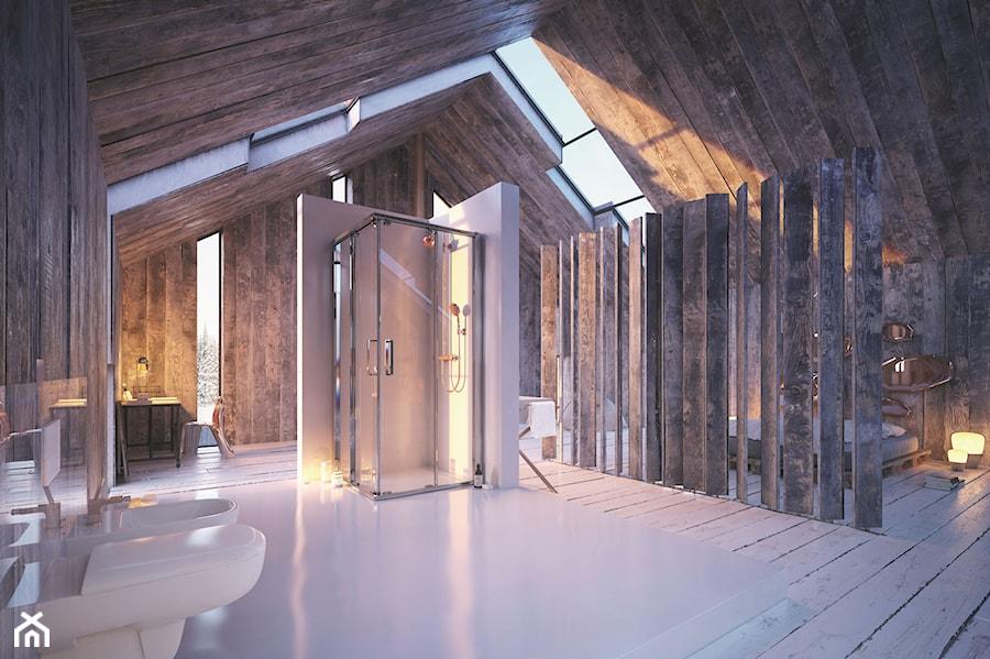 Aranżacje - Duża łazienka na poddaszu jako salon kąpielowy z oknem, styl nowoczesny - zdjęcie od KOŁO