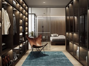 KLASYCZNIE - Duża otwarta garderoba przy sypialni - zdjęcie od KOMANDOR WARSZAWA - Szafy, garderoby, meble na wymiar