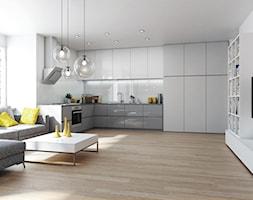 NOWOCZEŚNIE - Duża otwarta kuchnia w kształcie litery l w aneksie z oknem - zdjęcie od KOMANDOR WARSZAWA - Szafy, garderoby, meble na wymiar