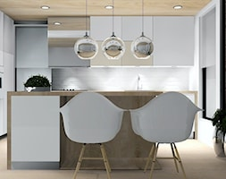 Projekt kuchni w bieli i drewnie - Kuchnia, styl nowoczesny - zdjęcie od Studio M Kropki. Projektowanie wnętrz i form użytkowych.
