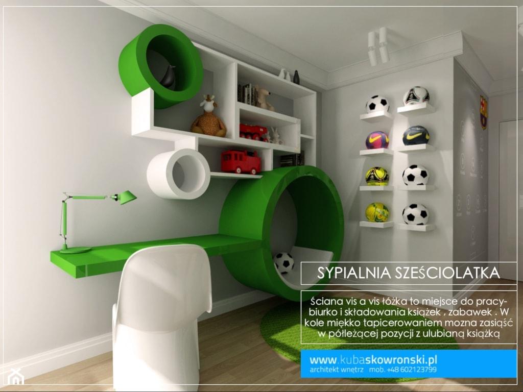 Średni szary pokój dziecka dla dziewczynki dla ucznia dla malucha - zdjęcie od kubaskowronski.pl - Homebook