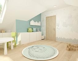 Aranżacja wnętrz domu jednorodzinnego. - Duży biały szary zielony pokój dziecka dla chłopca dla dziewczynki dla malucha - zdjęcie od Studio projektowe Suzume