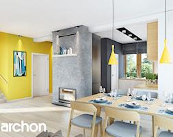 Dom w Rododendronach 20 (G2N) - Duża otwarta biała szara żółta jadalnia w salonie, styl nowoczesny - zdjęcie od ArchonHome