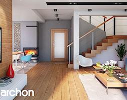 Dom w kalateach 7 (G2) - Średni szary salon z jadalnią, styl nowoczesny - zdjęcie od ArchonHome