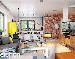 Dom w zielistkach 5 - Średni biały salon z kuchnią z jadalnią, styl nowoczesny - zdjęcie od ArchonHome - Homebook