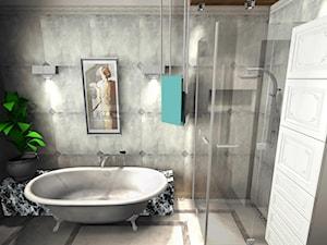 Średnia szara łazienka na poddaszu w bloku w domu jednorodzinnym z oknem, styl włoski - zdjęcie od Pracownia Projektowa Decookno