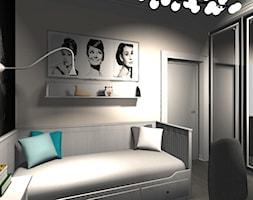 Mały biały szary czarny pokój dziecka dla dziewczynki dla ucznia dla nastolatka, styl nowojorski - zdjęcie od Pracownia Projektowa Decookno