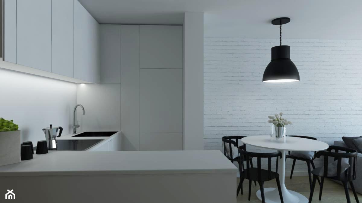 MIESZKANIE NA WYNAJEM _ KOŁOBRZEG - Średnia otwarta biała kuchnia w kształcie litery l w aneksie, styl minimalistyczny - zdjęcie od Monika Skowrońska Architekt Wnętrz - Homebook