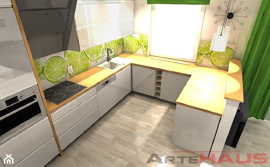 Biała Kuchnia z Limonką  zdjęcie od Projektowanie Wnętrz   -> Kuchnia Z Limonką
