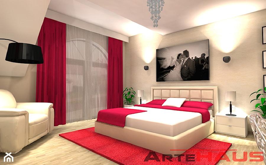 Sypialnia Z Mocnym Kolorem Malinowym Zdjęcie Od