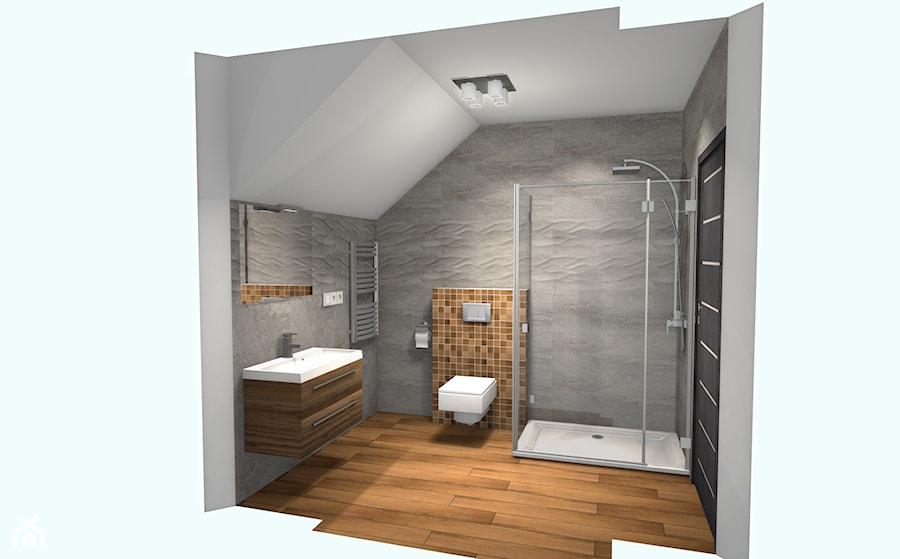 Projekt łazienki z płytkami drewnopodobnymi - zdjęcie od Projektowanie Wnętrz ArteHAUS - homebook