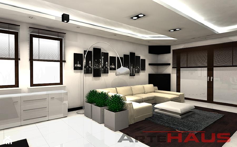 Projekt biało - czarnego salonu - zdjęcie od Projektowanie Wnętrz ArteHAUS - homebook