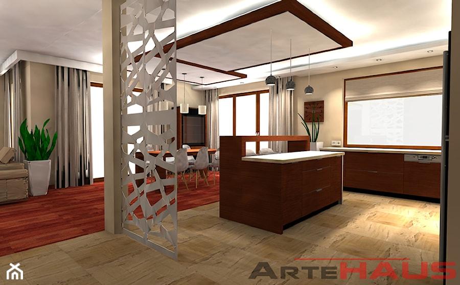 Projekt salonu otwartego na kuchnie  zdjęcie od Projektowanie Wnętrz ArteHAUS