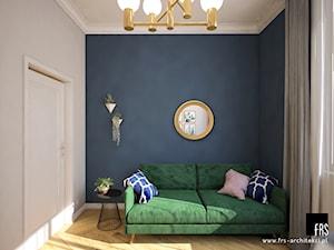 Mieszkanie w Kamienicy na wynajem - Średnie beżowe niebieskie biuro kącik do pracy w pokoju, styl nowojorski - zdjęcie od FRS ARCHITEKCI