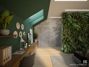 Dom pod lasem - Duża szara zielona sypialnia małżeńska na poddaszu, styl nowoczesny - zdjęcie od FRS ARCHITEKCI