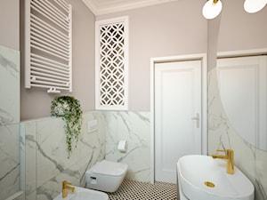 Mieszkanie w Kamienicy na wynajem - Średnia biała różowa łazienka, styl nowojorski - zdjęcie od FRS ARCHITEKCI