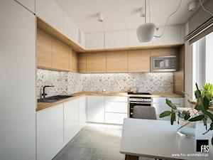 Apartament w Krakowie - Osiedle Akademickie - Średnia otwarta biała szara kuchnia w kształcie litery l w aneksie z oknem, styl nowoczesny - zdjęcie od FRS ARCHITEKCI