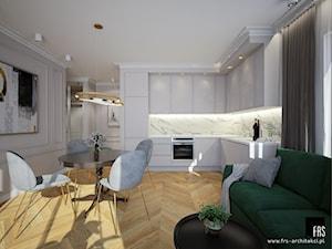 Mieszkanie na Żoliborzu - Średnia otwarta biała kuchnia w kształcie litery l w aneksie z oknem, styl nowojorski - zdjęcie od FRS ARCHITEKCI