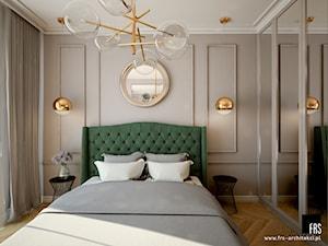 Mieszkanie na Żoliborzu - Mała szara sypialnia małżeńska, styl nowojorski - zdjęcie od FRS ARCHITEKCI
