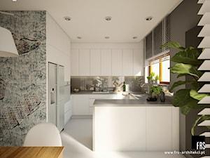 Dom Słoneczne Kliny - Średnia otwarta szara kuchnia w kształcie litery g w aneksie z oknem, styl minimalistyczny - zdjęcie od FRS ARCHITEKCI