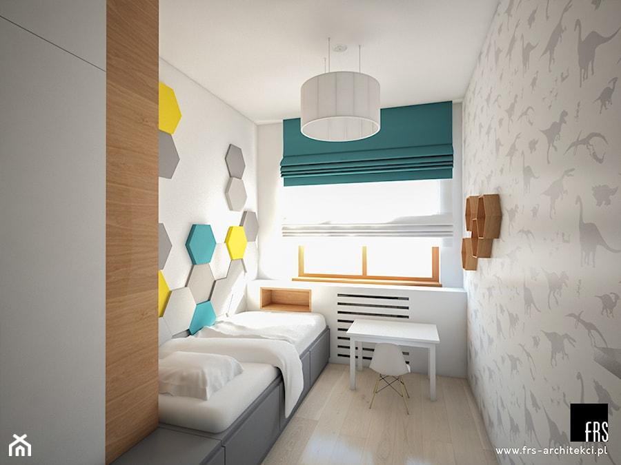 Dom Słoneczne Kliny - Średni szary pokój dziecka dla chłopca dla ucznia dla nastolatka, styl skandynawski - zdjęcie od FRS ARCHITEKCI