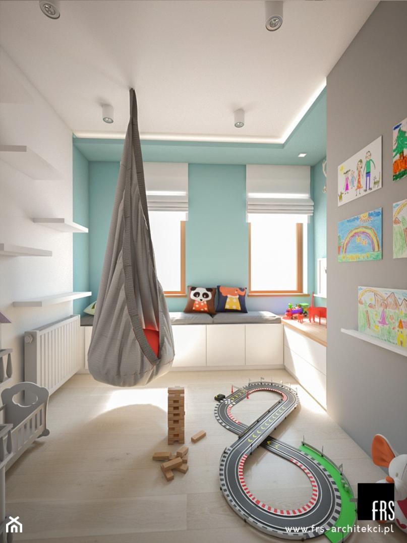Dom Słoneczne Kliny - Średni szary niebieski pokój dziecka dla chłopca dla dziewczynki dla niemowlaka dla malucha, styl skandynawski - zdjęcie od FRS ARCHITEKCI
