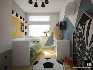 Apartament w Krakowie - Osiedle Akademickie - Mały biały niebieski czarny pokój dziecka dla chłopca dla dziewczynki dla ucznia dla malucha dla nastolatka, styl skandynawski - zdjęcie od FRS ARCHITEKCI