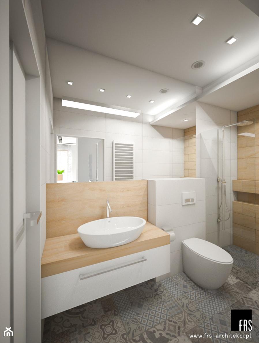 Dom Słoneczne Kliny - Średnia szara łazienka w bloku w domu jednorodzinnym bez okna, styl skandynawski - zdjęcie od FRS ARCHITEKCI