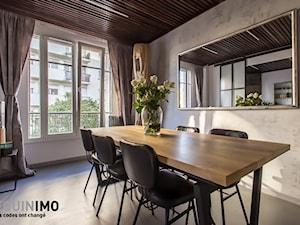 60m2 industrial - Średnia otwarta szara jadalnia jako osobne pomieszczenie, styl industrialny - zdjęcie od eve07