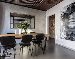 60m2 industrial - Średnia zamknięta biała szara jadalnia jako osobne pomieszczenie, styl industrialny - zdjęcie od eve07