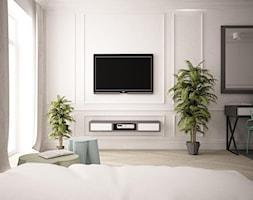 Apartament zielony - Mały biały salon z jadalnią, styl klasyczny - zdjęcie od wz studio