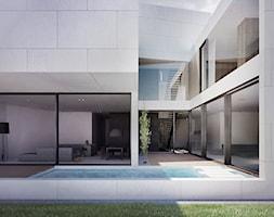 Projekt Kompleksu Mieszkalnego / Jeddah (SA) - Średni ogród za domem z basenem, styl minimalistyczny - zdjęcie od MOOMOO ARCHITECTS