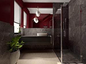Projekt nowoczesnej łazienki - Średnia czarna brązowa łazienka w bloku w domu jednorodzinnym z oknem, styl nowoczesny - zdjęcie od Studio FORMAT HOME