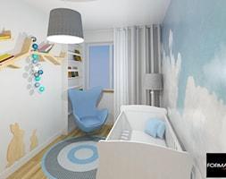 Mieszkanie w Krakowie - Mały biały niebieski pokój dziecka dla chłopca dla dziewczynki dla niemowlaka, styl tradycyjny - zdjęcie od Studio FORMAT HOME