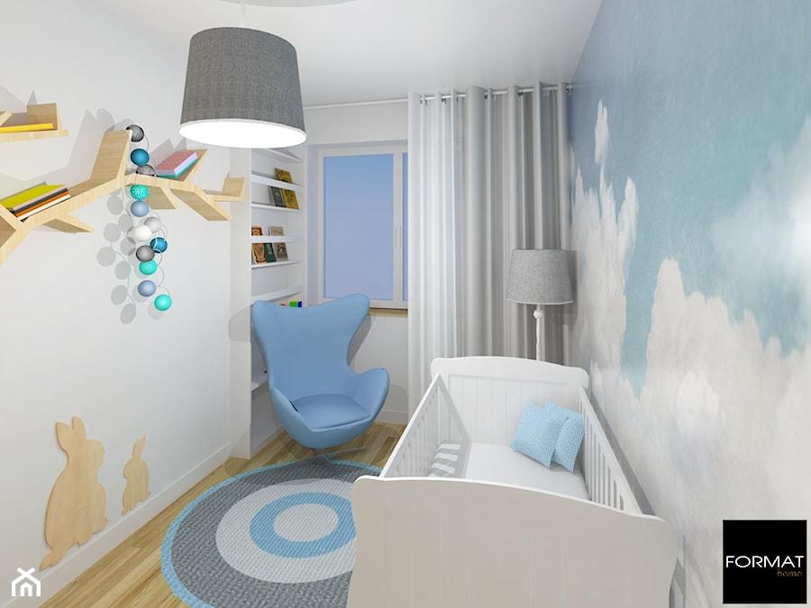 Aranżacje wnętrz - Pokój dziecka: Mieszkanie w Krakowie - Mały biały niebieski pokój dziecka dla chłopca dla dziewczynki dla niemowlaka, styl tradycyjny - Studio FORMAT HOME. Przeglądaj, dodawaj i zapisuj najlepsze zdjęcia, pomysły i inspiracje designerskie. W bazie mamy już prawie milion fotografii!