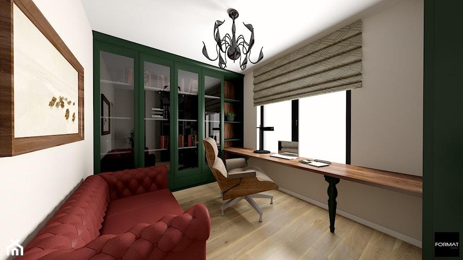 Dom pod Wieliczką 2019r. - Średnie beżowe białe biuro domowe w pokoju, styl klasyczny - zdjęcie od Studio FORMAT HOME