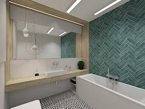 Łazienka z jodełką - Średnia niebieska szara łazienka w bloku w domu jednorodzinnym bez okna, styl nowoczesny - zdjęcie od Studio FORMAT HOME